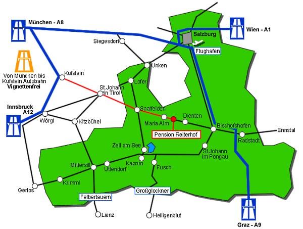 Karte Anfahrt Pension Reiterhof in Maria Alm
